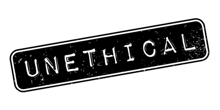Unethical rubber stamp. Grunge design with dust scratches.