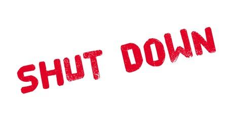 Shut Down rubber stamp. Grunge design with dust scratches. 向量圖像