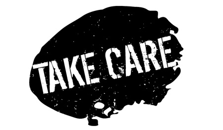 Take Care rubber stamp. Grunge design with dust scratches.