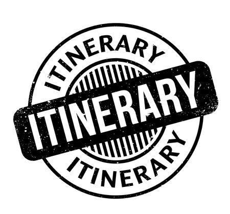 Itinerary rubber stamp. Grunge design with dust scratches. Effects can be easily removed for a clean, crisp look. Color is easily changed.