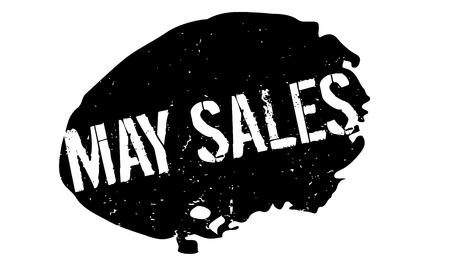 May Sales rubber stamp. Grunge design with dust scratches. Illustration