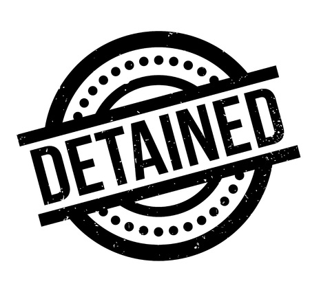 Detained rubber stamp. Grunge design with dust scratches.