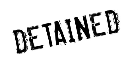 Detained rubber stamp. Grunge design with dust scratches. Vector illustration.