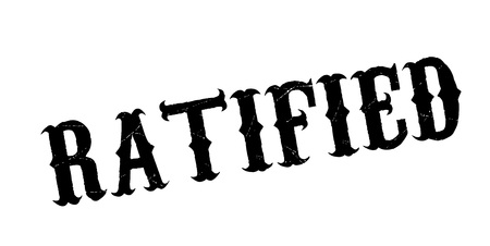 Ratified rubber stamp. Grunge design with dust scratches. Vector illustration.