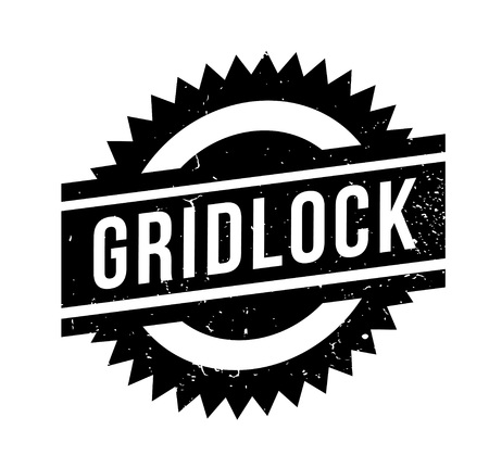 Gridlock rubber stamp. Grunge design with dust scratches. Illustration