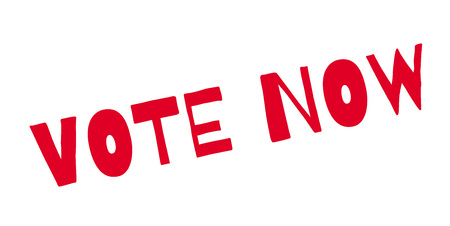 Vote Now rubber stamp. Grunge design with dust scratches.