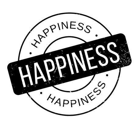 Sello de goma de la felicidad Diseño de grunge con arañazos de polvo. Los efectos se pueden eliminar fácilmente para una apariencia limpia y nítida. El color se cambia fácilmente.