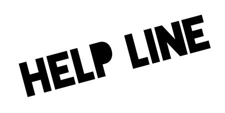 Help Line rubber stamp. Grunge design with dust scratches. Illustration