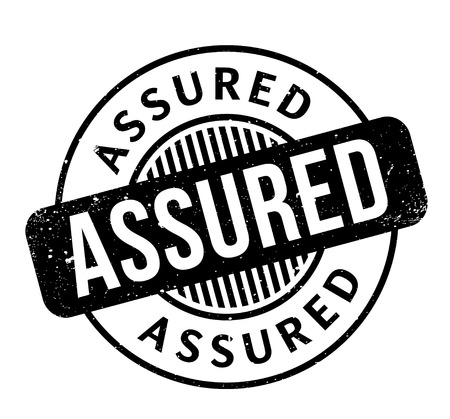 Assured rubber stamp. Grunge design with dust scratches. Effects can be easily removed for a clean, crisp look. Color is easily changed. Illustration