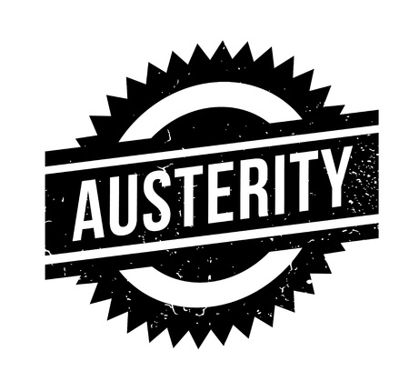 Austerity rubber stamp. Grunge design with dust scratches.