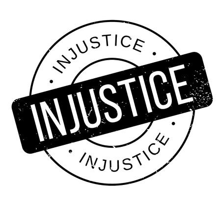 Injustice rubber stamp. Grunge design with dust scratches. Illustration