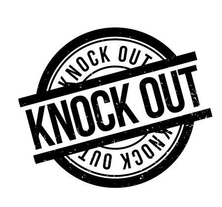 Knock Out rubber stamp. Grunge design with dust scratches.