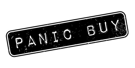 Panic Buy rubber stamp. Grunge design with dust scratches. Effects can be easily removed for a clean, crisp look. Color is easily changed. Stock Illustratie
