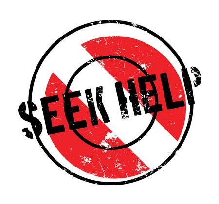 Seek Help rubber stamp. Grunge design with dust scratches. Effects can be easily removed for a clean, crisp look. Color is easily changed.