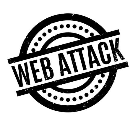 Web Attack-Stempel. Grunge Design mit Staubkratzern. Effekte können einfach entfernt werden, um ein sauberes, klares Erscheinungsbild zu erhalten. Farbe wird leicht geändert. Standard-Bild - 95617110