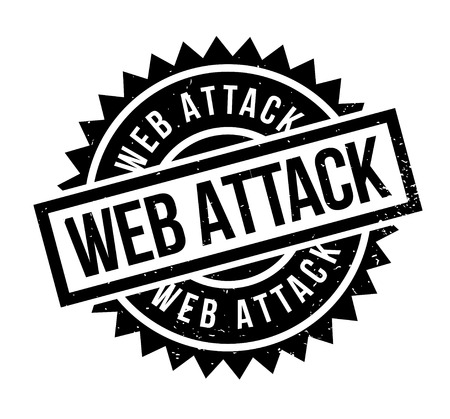 Web Attack rubber stamp. Grunge design with dust scratches. Effects can be easily removed for a clean, crisp look. Color is easily changed.