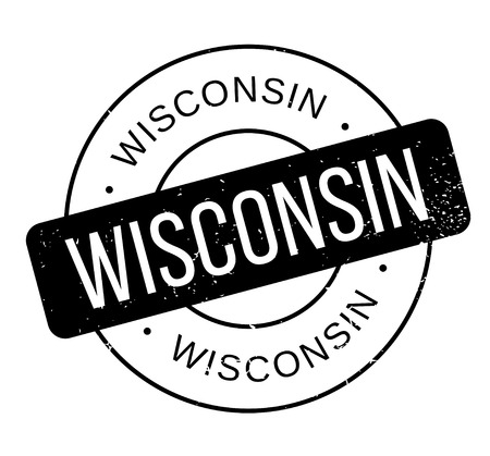 Wisconsin rubber stamp. Grunge design with dust scratches. Effects can be easily removed for a clean, crisp look. Color is easily changed. Zdjęcie Seryjne - 95617012