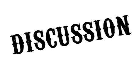 Discussion rubber stamp. Grunge design with dust scratches. Effects can be easily removed for a clean, crisp look. Color is easily changed. Illustration