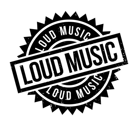 Loud Music rubber stamp. Grunge design with dust scratches. Effects can be easily removed for a clean, crisp look. Color is easily changed. 矢量图像