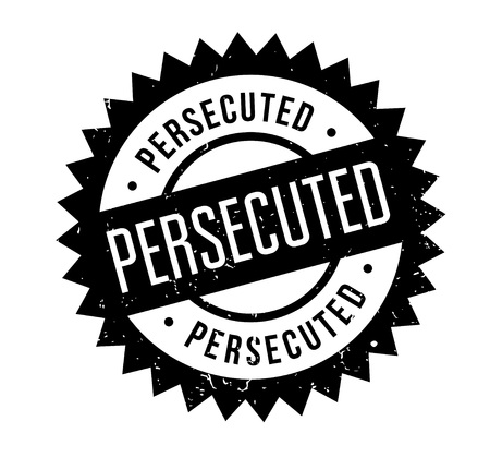 Persecuted rubber stamp. Grunge design with dust scratches.
