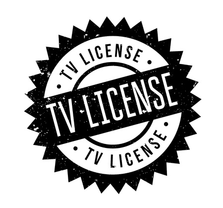 TV License rubber stamp of Grunge design with dust scratches.