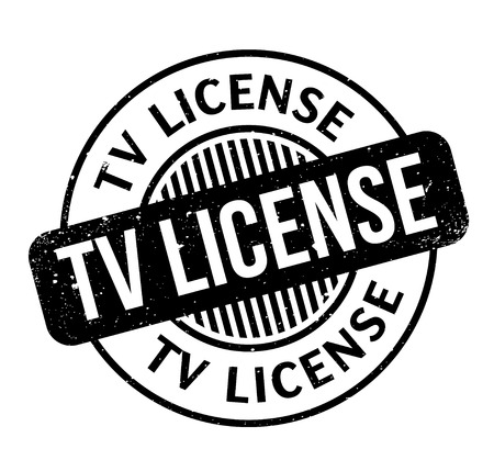 TV License rubber stamp. Grunge design with dust scratches.
