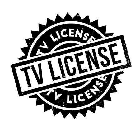 TV License rubber stamp for Grunge design with dust scratches. Illustration
