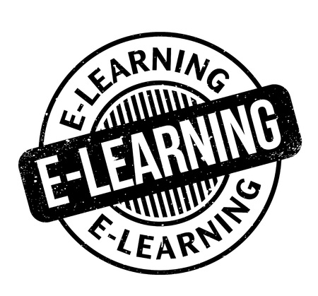 E-Learning rubber stamp. Grunge design with dust scratches. Effects can be easily removed for a clean, crisp look. Color is easily changed.