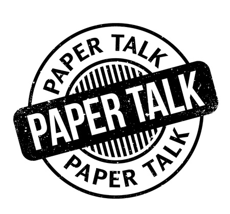 Paper Talk rubber stamp. Grunge design with dust scratches. Effects can be easily removed for a clean, crisp look. Vettoriali