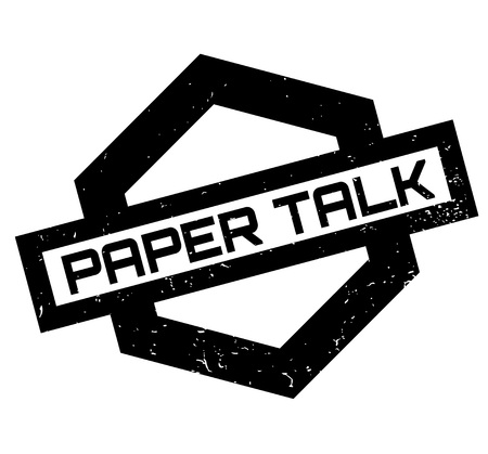 Paper Talk rubber stamp. Grunge design with dust scratches. Effects can be easily removed for a clean, crisp look. Vectores