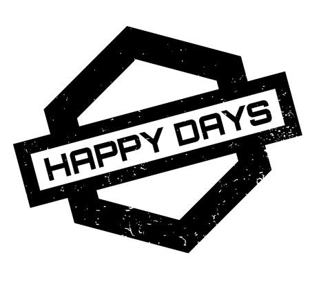 Happy Days rubber stamp. Grunge design with dust scratches. Effects can be easily removed for a clean, crisp look. Color is easily changed. 向量圖像