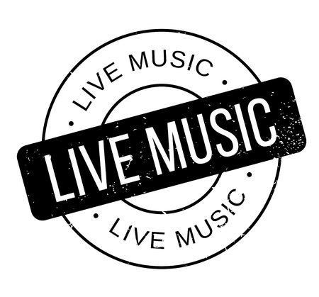 Live Music rubber stamp. Grunge design with dust scratches. Effects can be easily removed for a clean, crisp look. Color is easily changed.