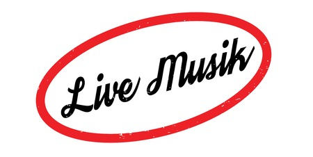 Live Musik rubber stamp in red oval outlined border in white background.