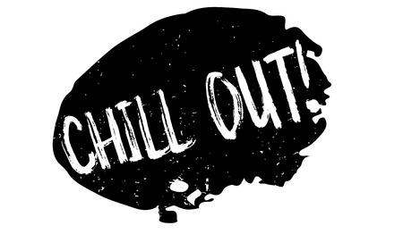 Chill Out rubber stamp. Grunge design with dust scratches. Effects can be easily removed for a clean. Ilustração