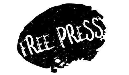Free Press rubber stamp in a black though bubble which has a grunge design with dust scratches.