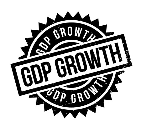 Nice and unique GDP Growth rubber stamp which has a grunge design with dust scratches and pointed edges.