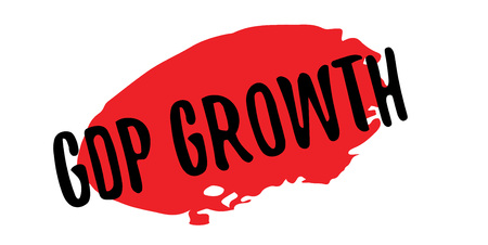 GDP Growth rubber stamp which has a grunge design with dust scratches and red oval.