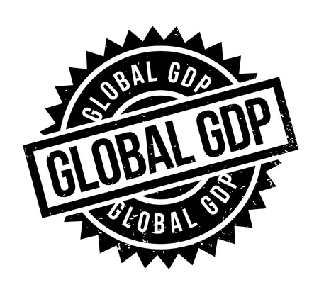 Global GDP rubber stamp with clear words and has sharp edges.