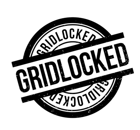Gridlocked rubber stamp. Grunge design with dust scratches. Effects can be easily removed for a clean, crisp look. Color is easily changed. Stock Illustratie