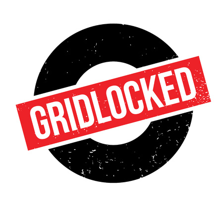 Gridlocked rubber stamp. Grunge design with dust scratches.