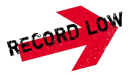 Record Low rubber stamp. Grunge design with dust scratches.