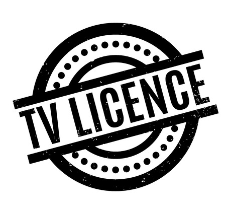 TV Licence rubber stamp. Grunge design with dust scratches. Effects can be easily removed for a clean, crisp look. Color is easily changed. Banco de Imagens - 95796241