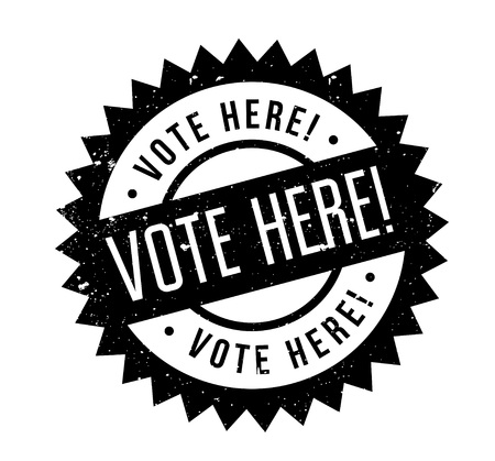 Vote Here rubber stamp. Grunge design with dust scratches.