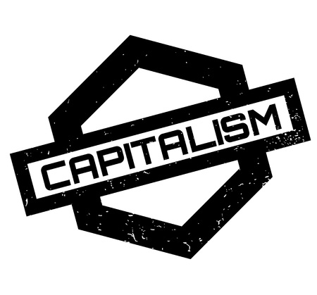 Capitalism rubber stamp on Grunge design with dust scratches.