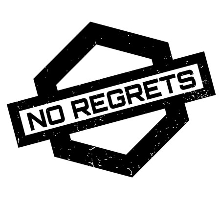 No Regrets rubber stamp on Grunge design with dust scratches. Stock Illustratie