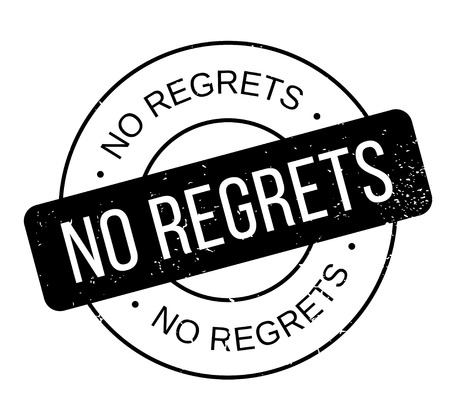 No Regrets rubber stamp on Grunge design with dust scratches. Illusztráció
