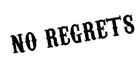 No Regrets rubber stamp. Grunge design with dust scratches. Effects can be easily removed for a clean, crisp look. Color is easily changed.