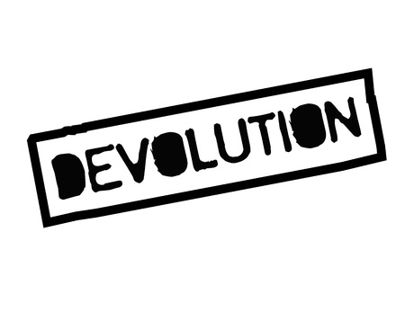 Devolution. Typographic stamp visualization concept original series.