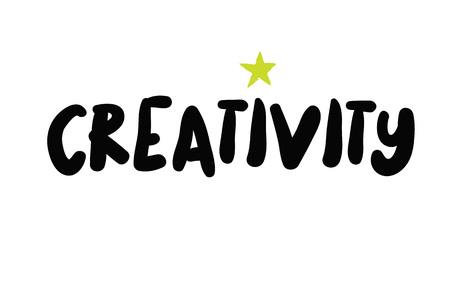 Creativity. Typographic stamp visualization concept original series. Illustration