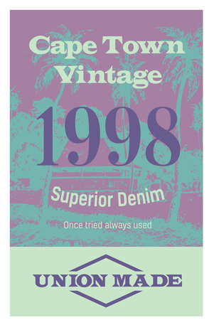 Cape town vintage clothing tag, for retail business, denim or other product. Illustration